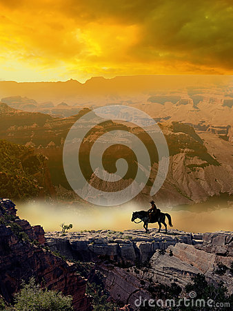 Free Cowboy And Horse In The Desert Royalty Free Stock Photos - 27892668