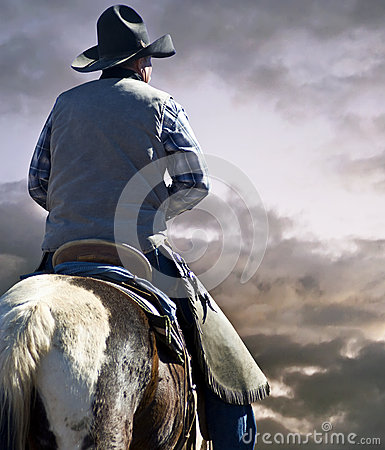 Free Cowboy And Horse On The Prairie Royalty Free Stock Images - 68936309