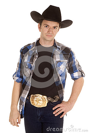 Cowboy With Black Hat Stand With Smile Stock Image Image