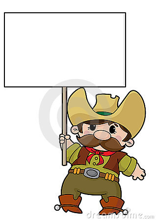 Cowboy with blank sign