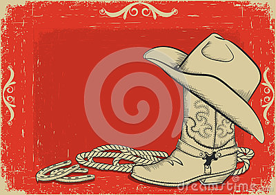 Cowboy boot and hat for design