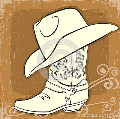 Cowboy Boot And Hat Vector Vintage Image Royalty Free