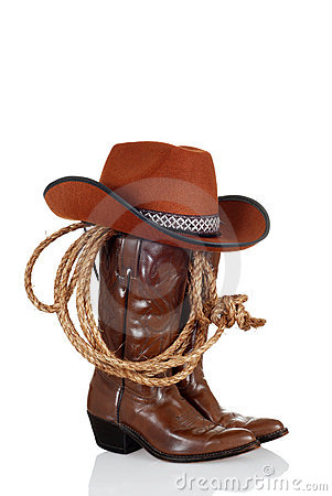 Cowboy boots with hat and a lasso