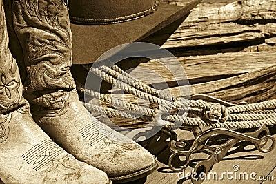 Cowboy Boots, Hat, Rope & Bits (Sepia)