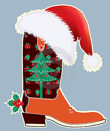 Cowboy christmas card with boot
