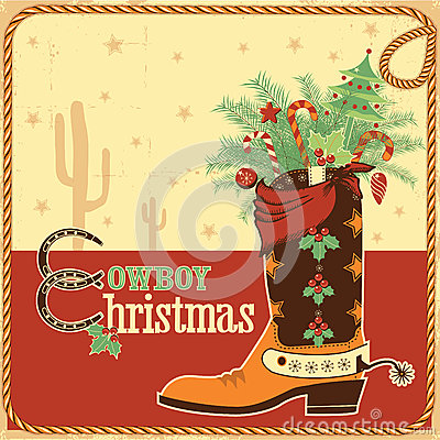 Free Cowboy Christmas Card With Text And Boot Royalty Free Stock Photos - 34699408