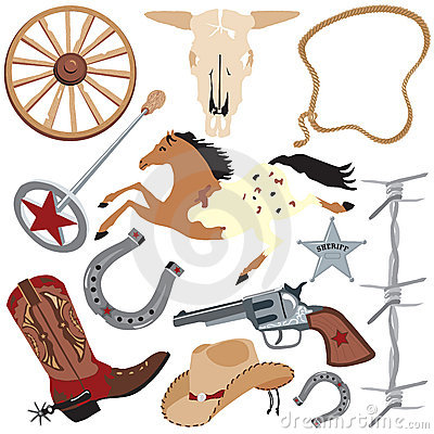 Cowboy clip art elements, isolated on white