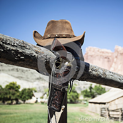 Cowboy gun and hat