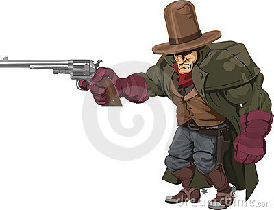 Cowboy gunman with pistol
