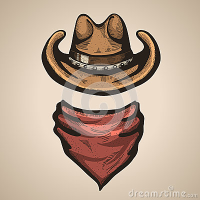 Free Cowboy Hat And Bandana Scraf.Vector Illustration Royalty Free Stock Photos - 43877808