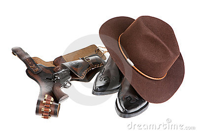 Cowboy Hat, Boots And Gun
