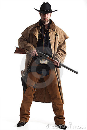 Cowboy with hat and rifle