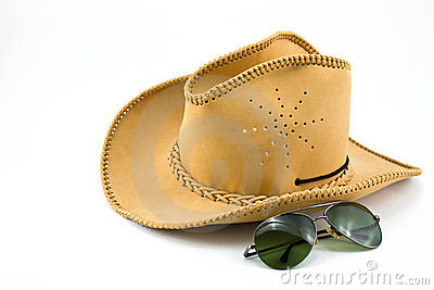 Cowboy hat and sunglasses