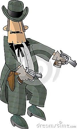 Cowboy and his six guns