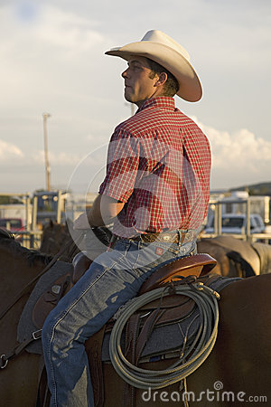 Cowboy on horse with rope Editorial Image