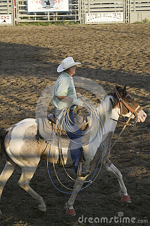 Cowboy on horse with rope Editorial Photography