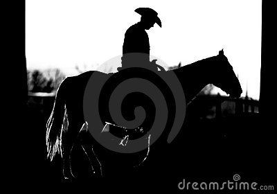 Cowboy Horse Silhouette (BW)