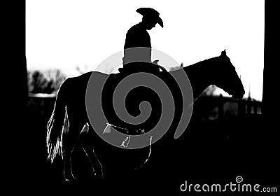 Cowboy Horse Silhouette (BW)