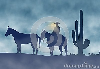 Cowboy and Horses in a Foggy Day