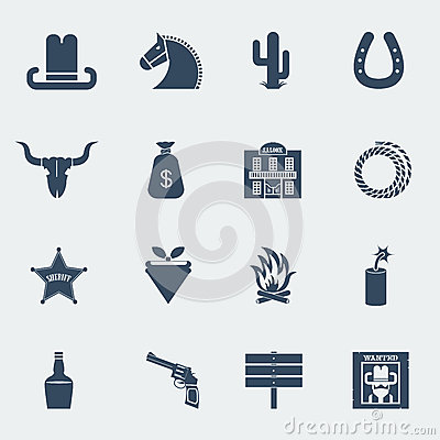 Free Cowboy Icons.Vector Wild West Pictograms Isolated Stock Images - 39243664