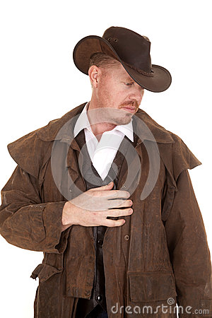 Free Cowboy In Hat And Duster Hand On Heart Royalty Free Stock Photography - 38335667