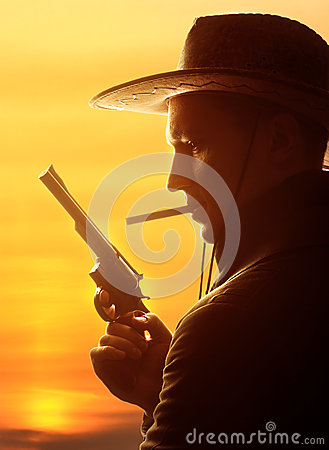 Free Cowboy In Hat With Cigar And Revolver Royalty Free Stock Photos - 30016518