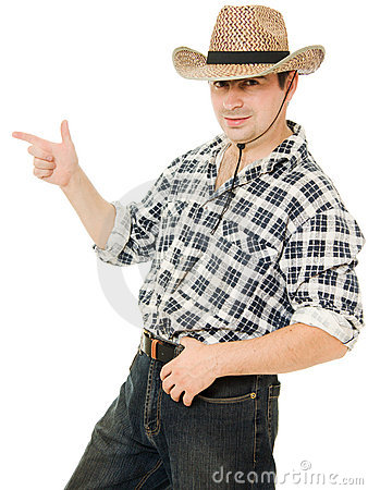 Cowboy indicates the direction.