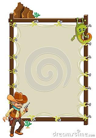 A cowboy infront of an empty framed banner