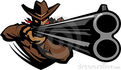 Cowboy Mascot Aiming Shotgun Illustration
