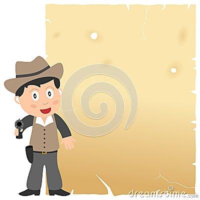 Cowboy och gammalt pergament
