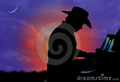 Cowboy Pianist Silhouette