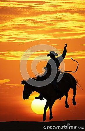 Cowboy riding a bucking horse.