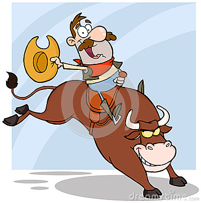 Free Cowboy Riding Bull In Rodeo Royalty Free Stock Image - 27317546