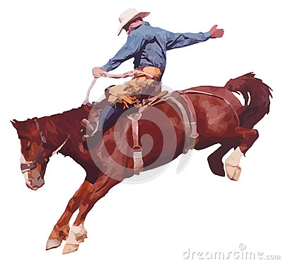 Free Cowboy Riding Horse At Rodeo. Royalty Free Stock Photo - 31069105