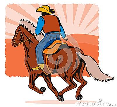 Cowboy riding a horse sunset