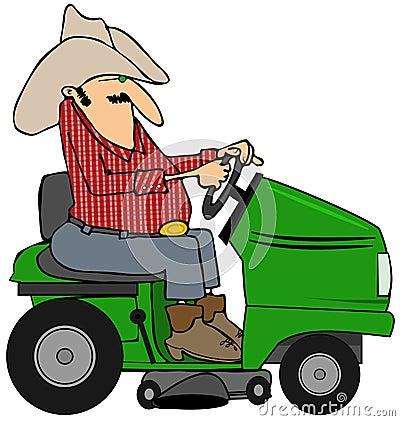Cowboy on a riding lawnmower