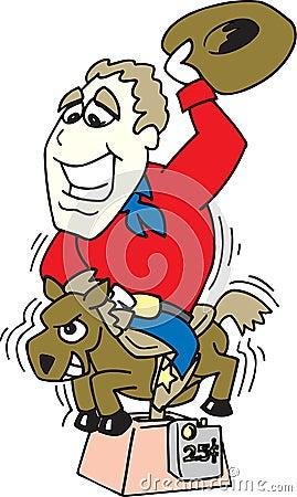 Cowboy riding a pony