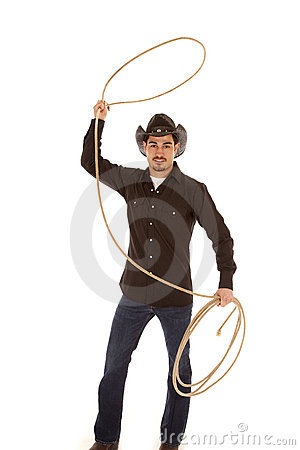 Cowboy with rope in air