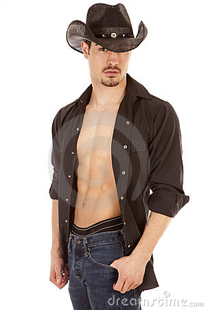 Cowboy serious shirt open