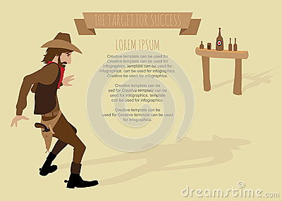 Cowboy shoot the gun target for success.