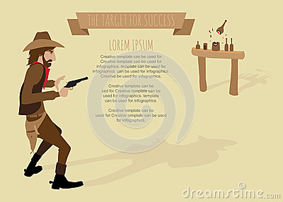 Cowboy shoot the gun target for success.