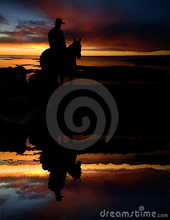 Free Cowboy Silhouette Stock Photography - 4957322
