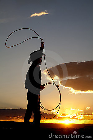Cowboy silhouette roping