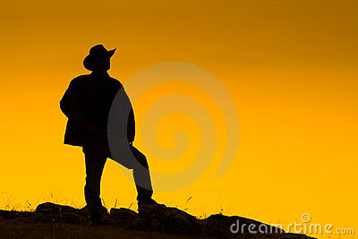 Cowboy silhouetted at dusk