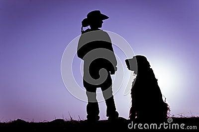 Cowboy & Sitting Dog Silhouette