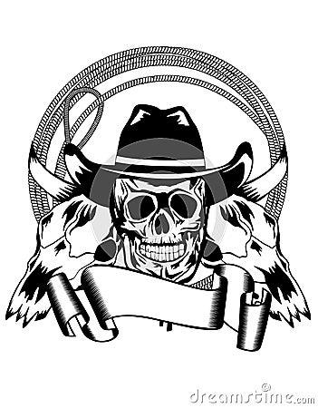 Cowboy and skull bull
