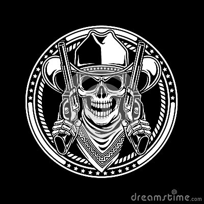 Free Cowboy Skull Hold Guns Royalty Free Stock Photos - 56332468