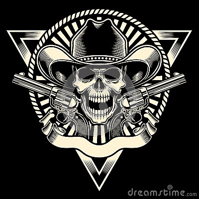 cowboy skull with revolver stock image image 37281151