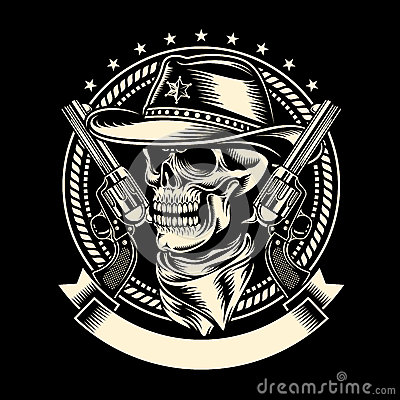 Free Cowboy Skull With Handguns Stock Photos - 50996343
