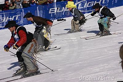 Cowboy Stampede - mass start of skiing cowboys Editorial Image